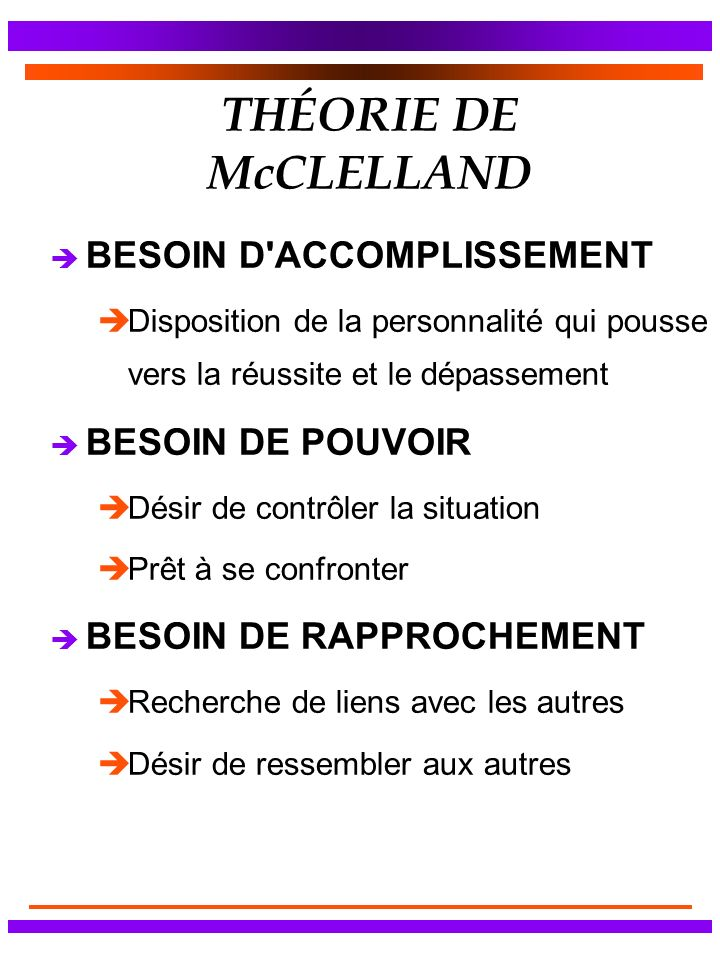 THÉORIE DE McCLELLAND è BESOIN D'ACCOMPLISSEMENT èDisposition de la personnalité qui pousse vers la réussite et le dépassement è BESOIN DE POUVOIR èDé