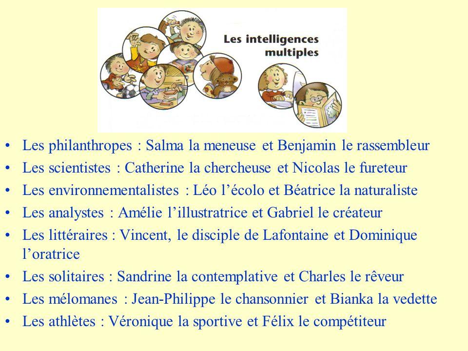 Les philanthropes : Salma la meneuse et Benjamin le rassembleur Les scientistes : Catherine la chercheuse et Nicolas le fureteur Les environnementalis