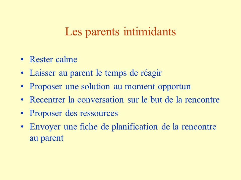 Les parents intimidants Rester calme Laisser au parent le temps de réagir Proposer une solution au moment opportun Recentrer la conversation sur le bu