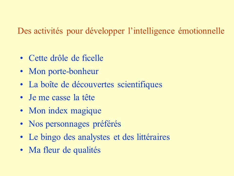 Des activités pour développer lintelligence émotionnelle Cette drôle de ficelle Mon porte-bonheur La boîte de découvertes scientifiques Je me casse la