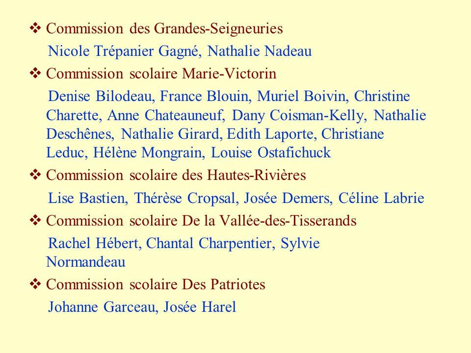 Commission des Grandes-Seigneuries Nicole Trépanier Gagné, Nathalie Nadeau Commission scolaire Marie-Victorin Denise Bilodeau, France Blouin, Muriel B