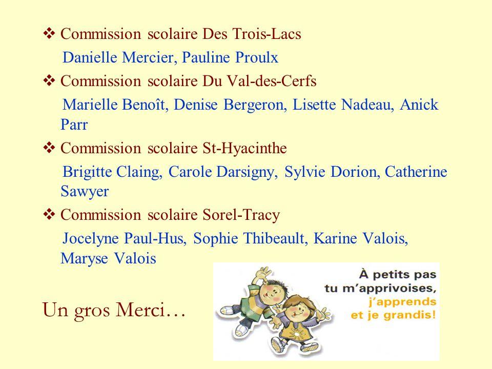 Commission scolaire Des Trois-Lacs Danielle Mercier, Pauline Proulx Commission scolaire Du Val-des-Cerfs Marielle Benoît, Denise Bergeron, Lisette Nad