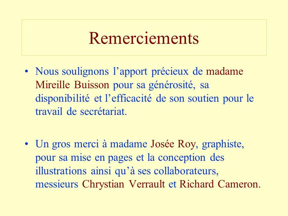 Remerciements Nous soulignons lapport précieux de madame Mireille Buisson pour sa générosité, sa disponibilité et lefficacité de son soutien pour le t