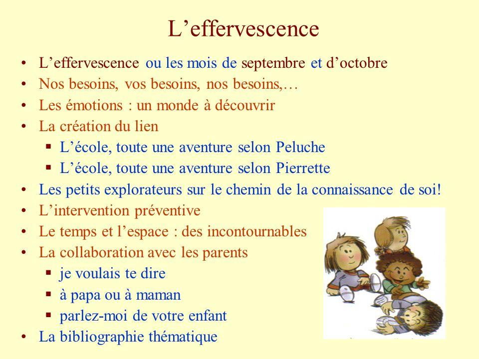 Leffervescence Leffervescence ou les mois de septembre et doctobre Nos besoins, vos besoins, nos besoins,… Les émotions : un monde à découvrir La créa