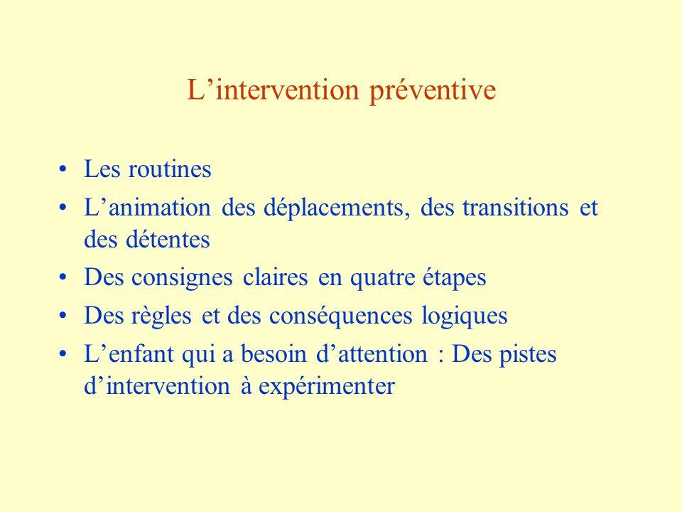 Lintervention préventive Les routines Lanimation des déplacements, des transitions et des détentes Des consignes claires en quatre étapes Des règles e