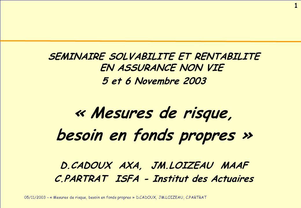 1 05/11/2003 – « Mesures de risque, besoin en fonds propres » D.CADOUX, JM.LOIZEAU, C.PARTRAT SEMINAIRE SOLVABILITE ET RENTABILITE EN ASSURANCE NON VI