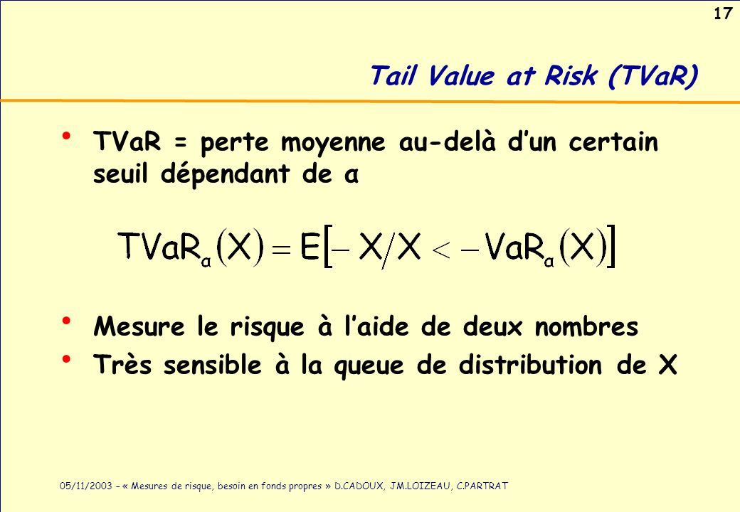 17 05/11/2003 – « Mesures de risque, besoin en fonds propres » D.CADOUX, JM.LOIZEAU, C.PARTRAT Tail Value at Risk (TVaR) TVaR = perte moyenne au-delà