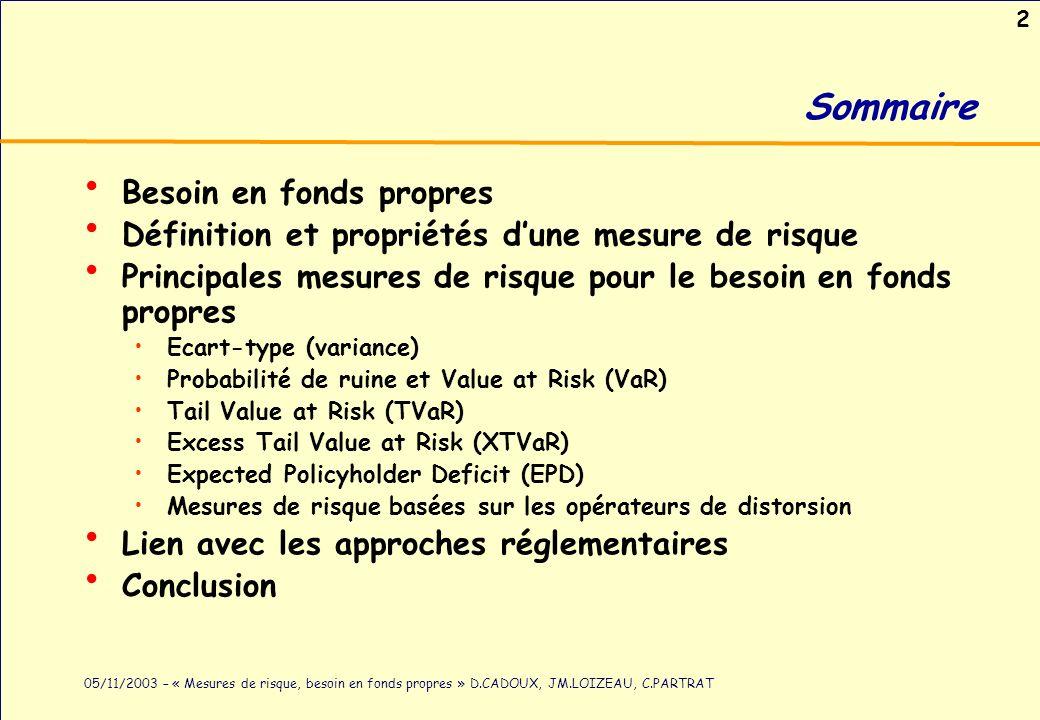 2 05/11/2003 – « Mesures de risque, besoin en fonds propres » D.CADOUX, JM.LOIZEAU, C.PARTRAT Sommaire Besoin en fonds propres Définition et propriété