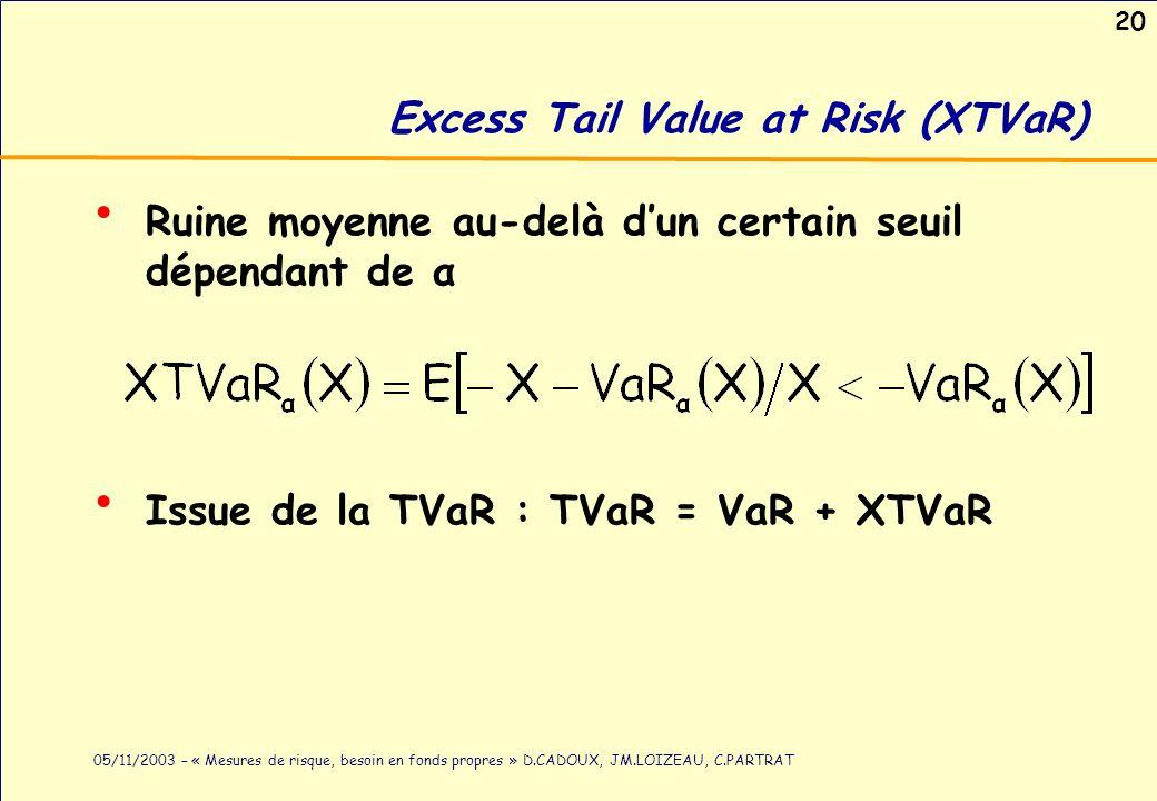 20 05/11/2003 – « Mesures de risque, besoin en fonds propres » D.CADOUX, JM.LOIZEAU, C.PARTRAT Excess Tail Value at Risk (XTVaR) Ruine moyenne au-delà
