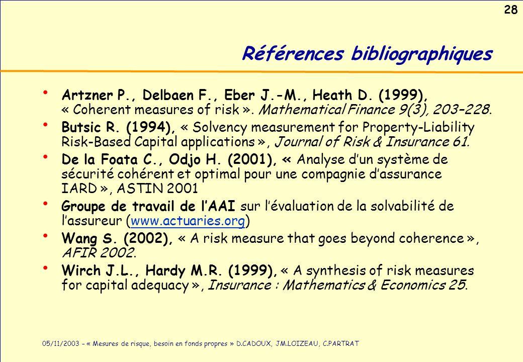 28 05/11/2003 – « Mesures de risque, besoin en fonds propres » D.CADOUX, JM.LOIZEAU, C.PARTRAT Références bibliographiques Artzner P., Delbaen F., Ebe