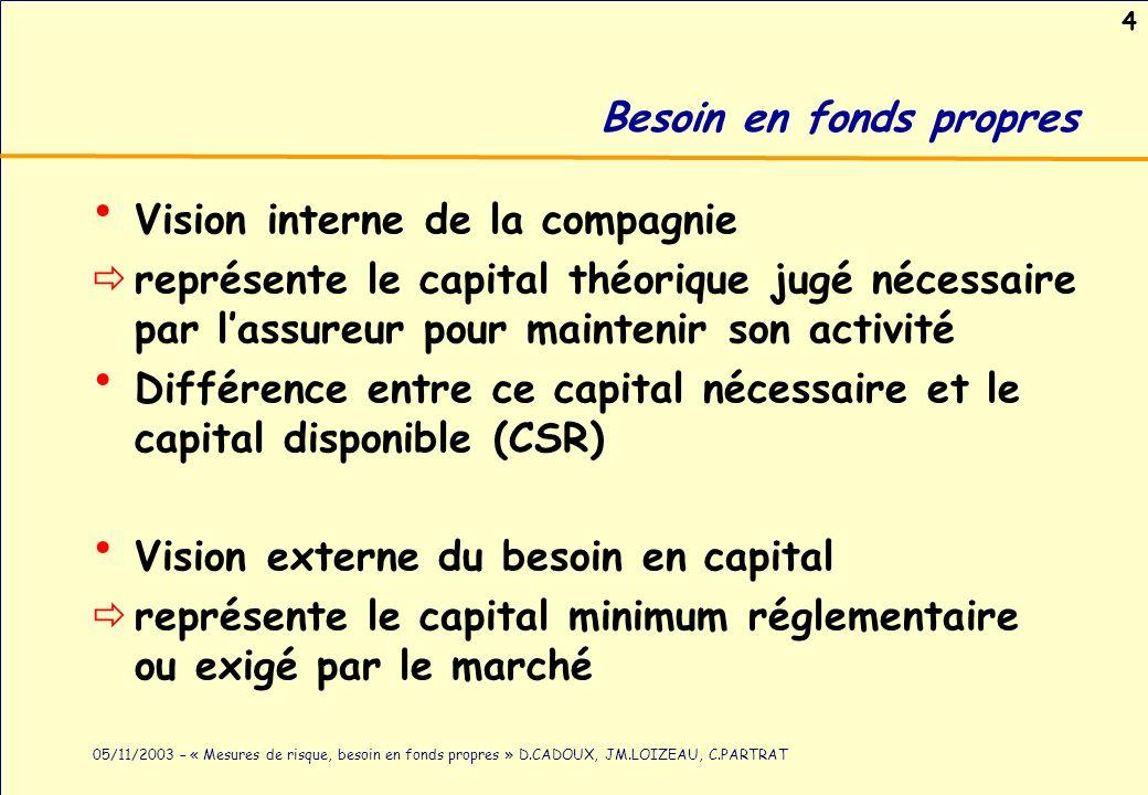 4 05/11/2003 – « Mesures de risque, besoin en fonds propres » D.CADOUX, JM.LOIZEAU, C.PARTRAT Besoin en fonds propres Vision interne de la compagnie r