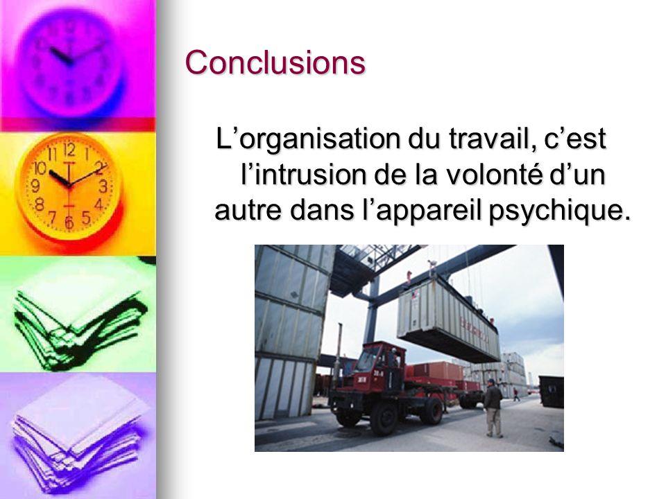 Conclusions Lorganisation du travail, cest lintrusion de la volonté dun autre dans lappareil psychique.