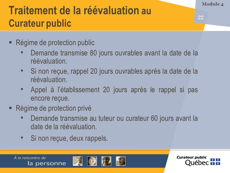22 Traitement de la réévaluation au Curateur public Régime de protection public Demande transmise 80 jours ouvrables avant la date de la réévaluation.