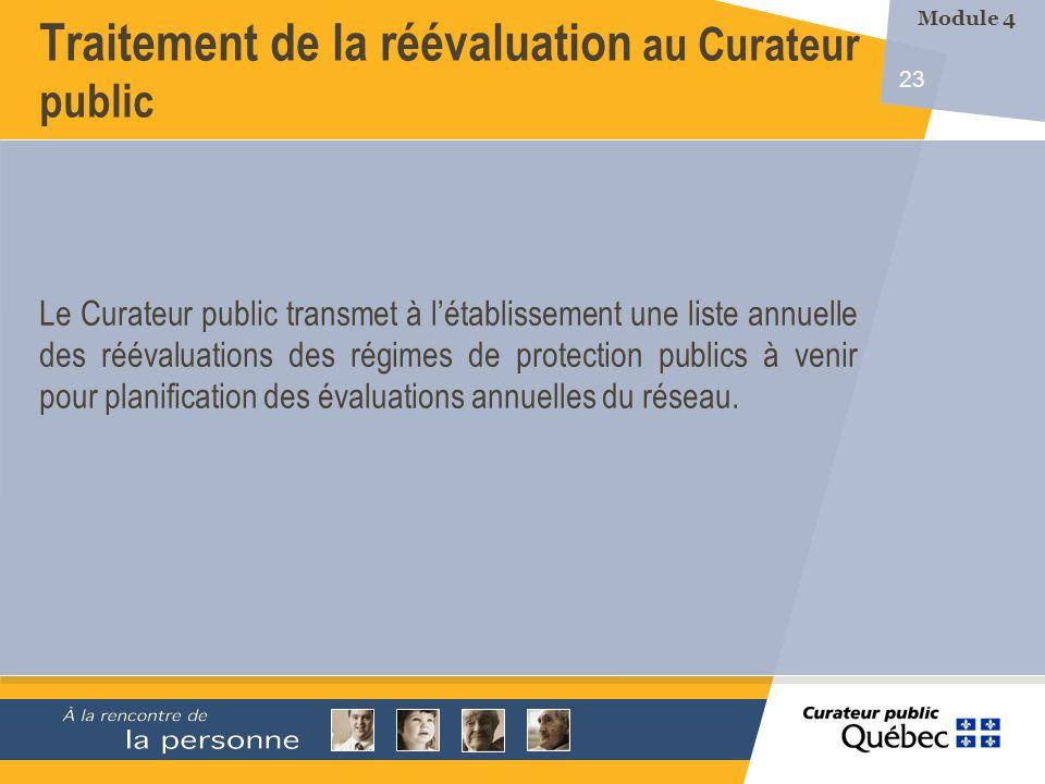 23 Le Curateur public transmet à létablissement une liste annuelle des réévaluations des régimes de protection publics à venir pour planification des évaluations annuelles du réseau.