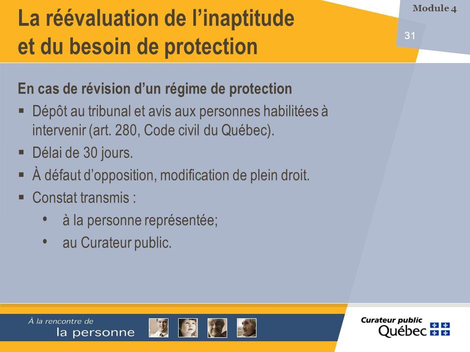 31 La réévaluation de linaptitude et du besoin de protection En cas de révision dun régime de protection Dépôt au tribunal et avis aux personnes habilitées à intervenir (art.
