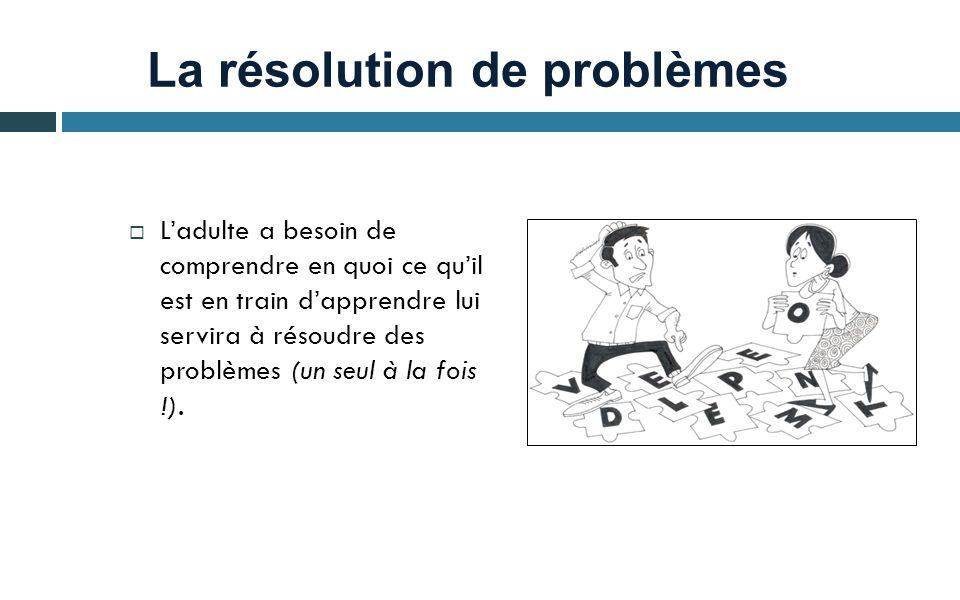 La résolution de problèmes Ladulte a besoin de comprendre en quoi ce quil est en train dapprendre lui servira à résoudre des problèmes (un seul à la fois !).