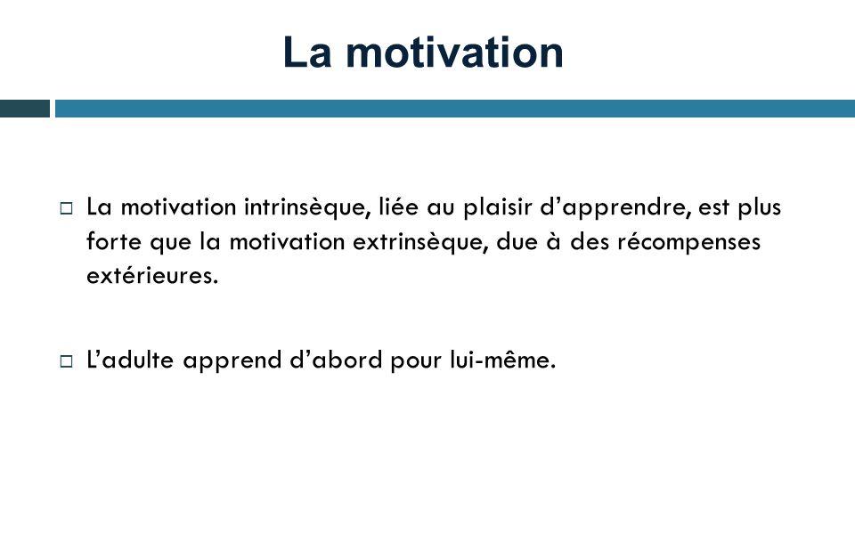 La motivation La motivation intrinsèque, liée au plaisir dapprendre, est plus forte que la motivation extrinsèque, due à des récompenses extérieures.