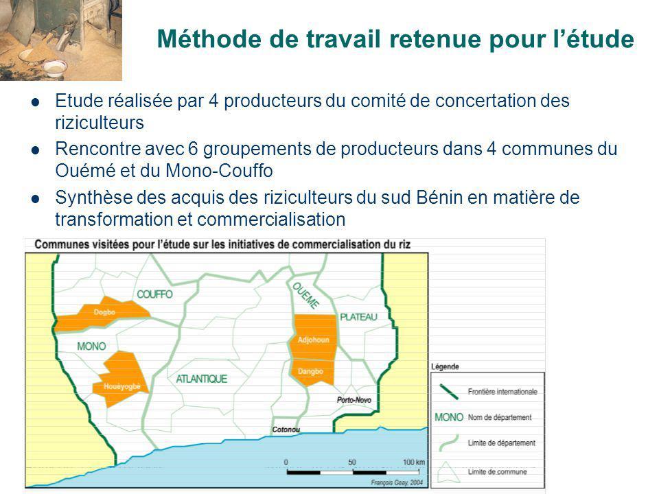 Bohicon, 12-13/10/2004Atelier Accès au marché des produits agricoles Caractérisation de la production de riz dans les zones détudeOUEMEMONO/COUFFO Aménagement des sites Pas de périmètres irrigués.