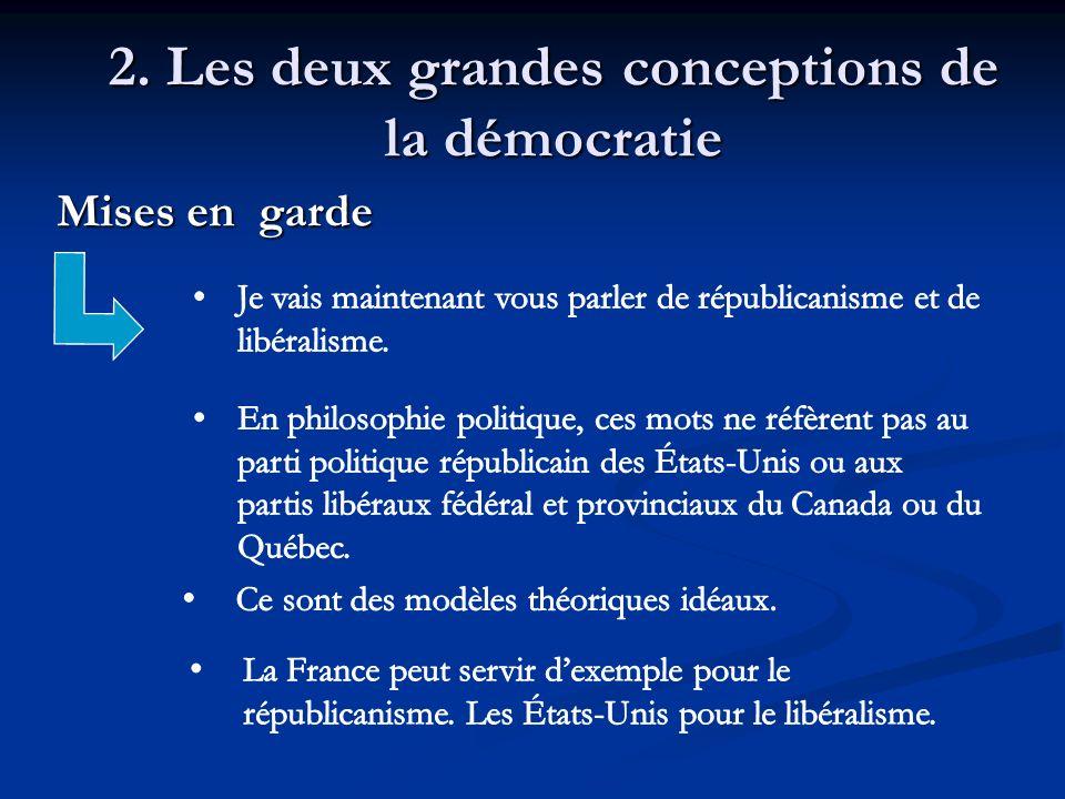 2. Les deux grandes conceptions de la démocratie Mises en garde Mises en garde