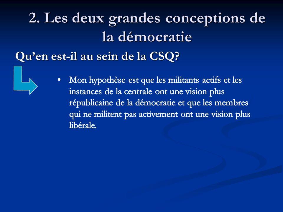 2. Les deux grandes conceptions de la démocratie Quen est-il au sein de la CSQ? Quen est-il au sein de la CSQ?