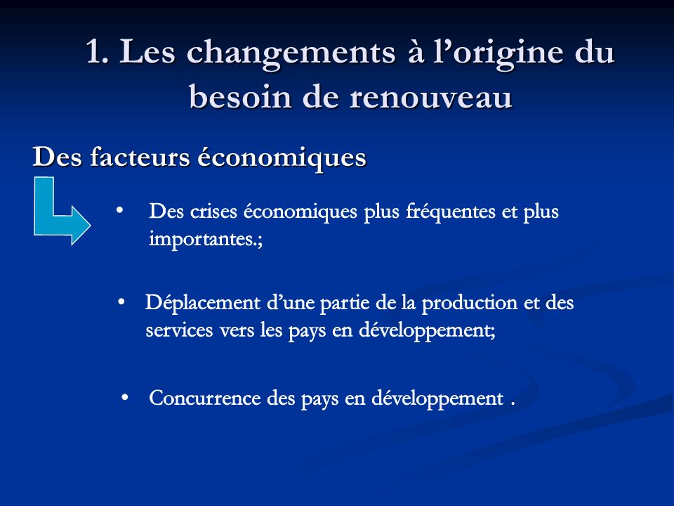 1. Les changements à lorigine du besoin de renouveau Des facteurs économiques Des facteurs économiques