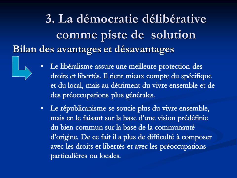 3. La démocratie délibérative comme piste de solution Bilan des avantages et désavantages Bilan des avantages et désavantages