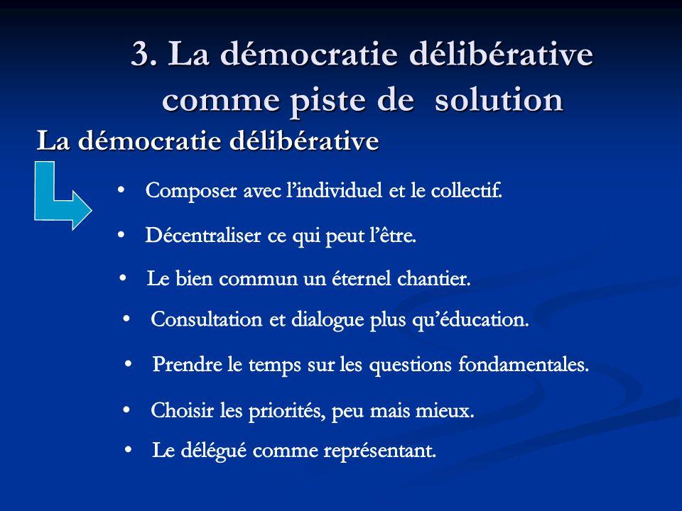 3. La démocratie délibérative comme piste de solution La démocratie délibérative La démocratie délibérative