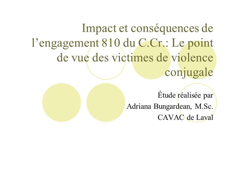 Impact et conséquences de lengagement 810 du C.Cr.: Le point de vue des victimes de violence conjugale Étude réalisée par Adriana Bungardean, M.Sc. CA