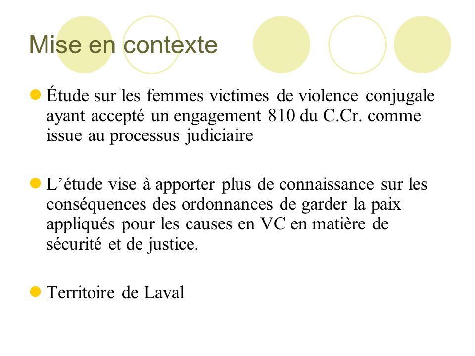 Mise en contexte Étude sur les femmes victimes de violence conjugale ayant accepté un engagement 810 du C.Cr. comme issue au processus judiciaire Létu