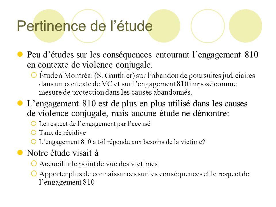 Pertinence de létude Peu détudes sur les conséquences entourant lengagement 810 en contexte de violence conjugale. Étude à Montréal (S. Gauthier) sur