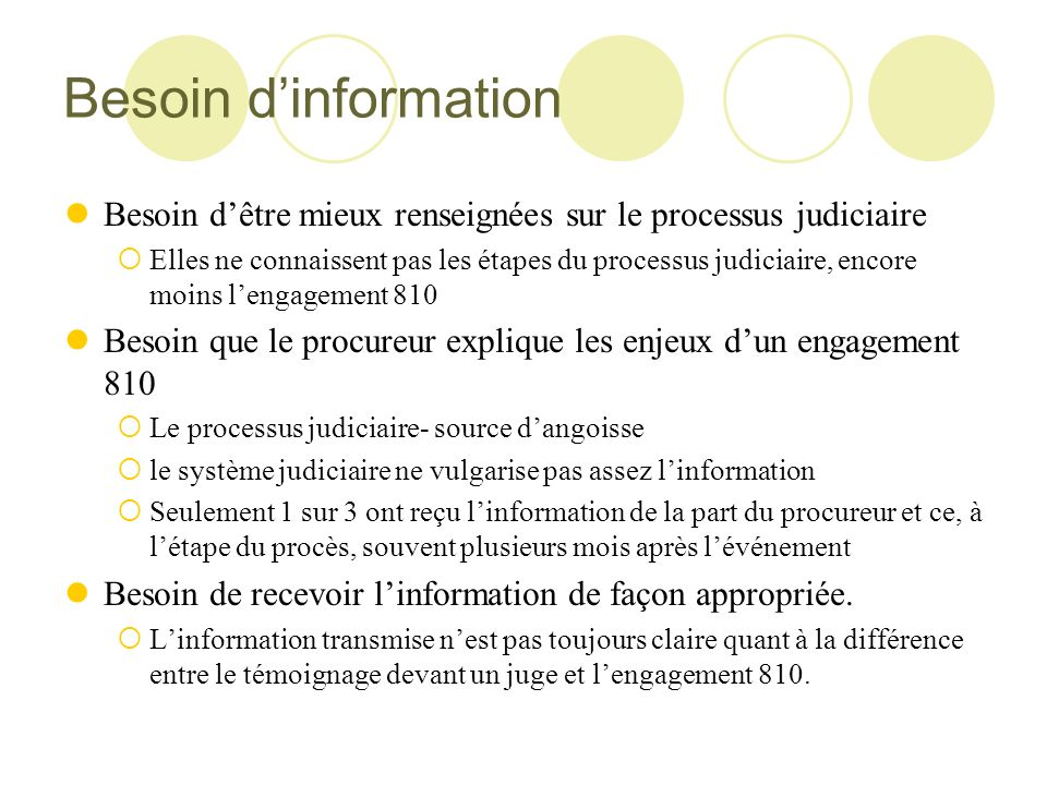 Besoin dinformation Besoin dêtre mieux renseignées sur le processus judiciaire Elles ne connaissent pas les étapes du processus judiciaire, encore moi