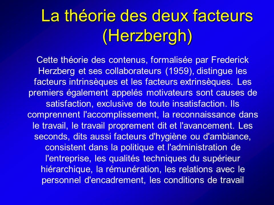 La théorie des deux facteurs (Herzbergh) Cette théorie des contenus, formalisée par Frederick Herzberg et ses collaborateurs (1959), distingue les facteurs intrinsèques et les facteurs extrinsèques.