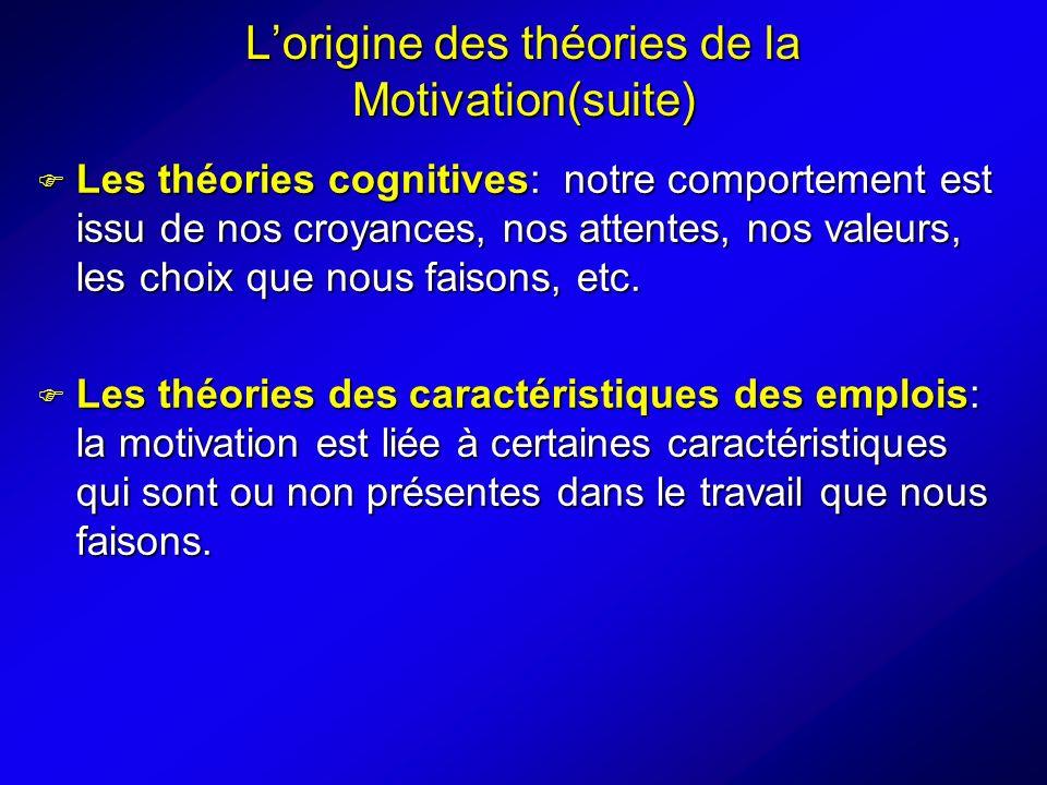 Lorigine des théories de la Motivation(suite) Les théories cognitives: notre comportement est issu de nos croyances, nos attentes, nos valeurs, les choix que nous faisons, etc.