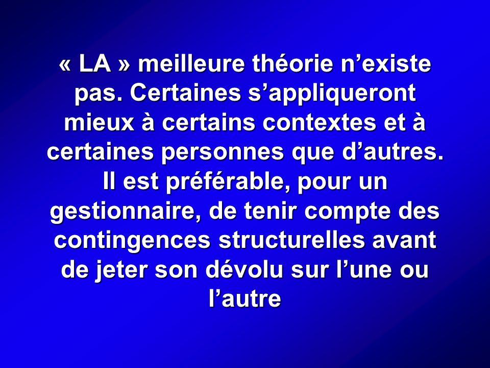 « LA » meilleure théorie nexiste pas.