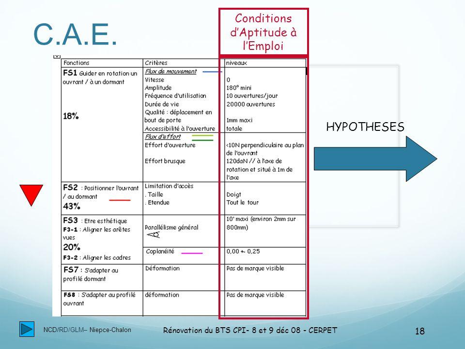 NCD/RD/GLM– Niepce-Chalon Rénovation du BTS CPI- 8 et 9 déc 08 - CERPET 18 C.A.E. Conditions dAptitude à lEmploi HYPOTHESES