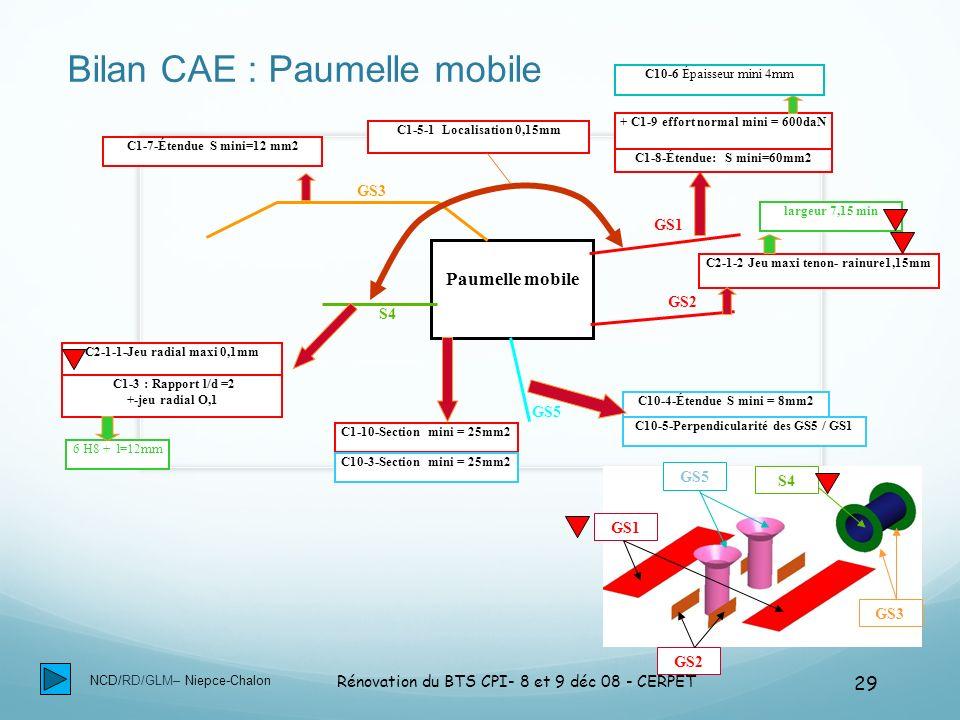NCD/RD/GLM– Niepce-Chalon Rénovation du BTS CPI- 8 et 9 déc 08 - CERPET 29 Bilan CAE : Paumelle mobile Paumelle mobile GS1 GS2 GS3 S4 GS5 C1-7-Étendue