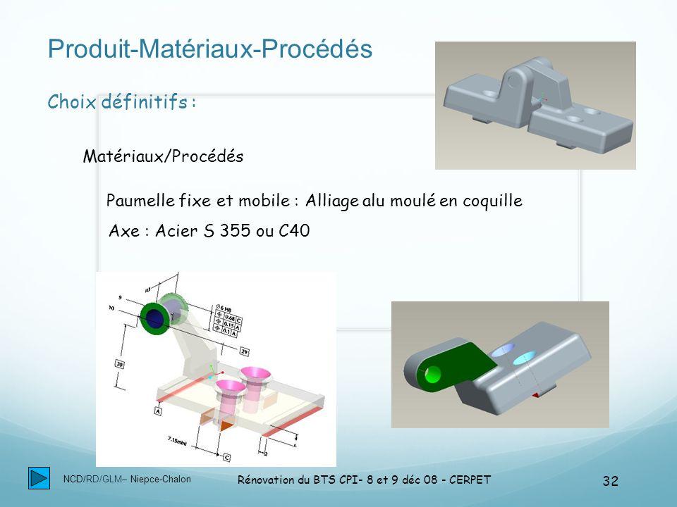 NCD/RD/GLM– Niepce-Chalon Rénovation du BTS CPI- 8 et 9 déc 08 - CERPET 32 Produit-Matériaux-Procédés Résister au milieu ambiant Choix définitifs : Ma