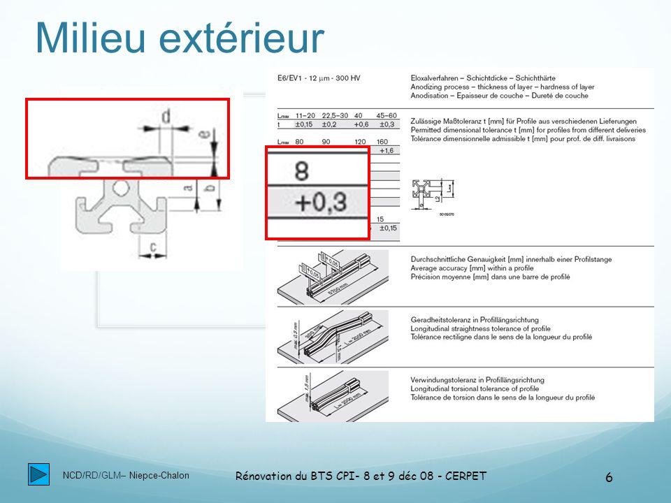 NCD/RD/GLM– Niepce-Chalon Rénovation du BTS CPI- 8 et 9 déc 08 - CERPET 27 Bilan CAE : Paumelle mobile Paumelle mobile GS1 GS2 GS3 S4 GS5 C1-3 : Rapport l/d =2 +-jeu radial O,1 C2-1-1-Jeu radial maxi 0,1mm C2-1-2 Jeu maxi tenon- rainure1,15mm S4 GS2 GS1 GS5 GS3 C1-5-1 Localisation 0,15mm C1-7-Étendue S mini=12 mm2 + C1-9 effort normal mini = 600daN C1-10-Section mini = 25mm2 C1-8-Étendue: S mini=60mm2 largeur 7,15 min 6 H8 + l=12mm C10-3-Section mini = 25mm2 C10-4-Étendue S mini = 8mm2 C10-5-Perpendicularité des GS5 / GS1 C10-6 Épaisseur mini 4mm