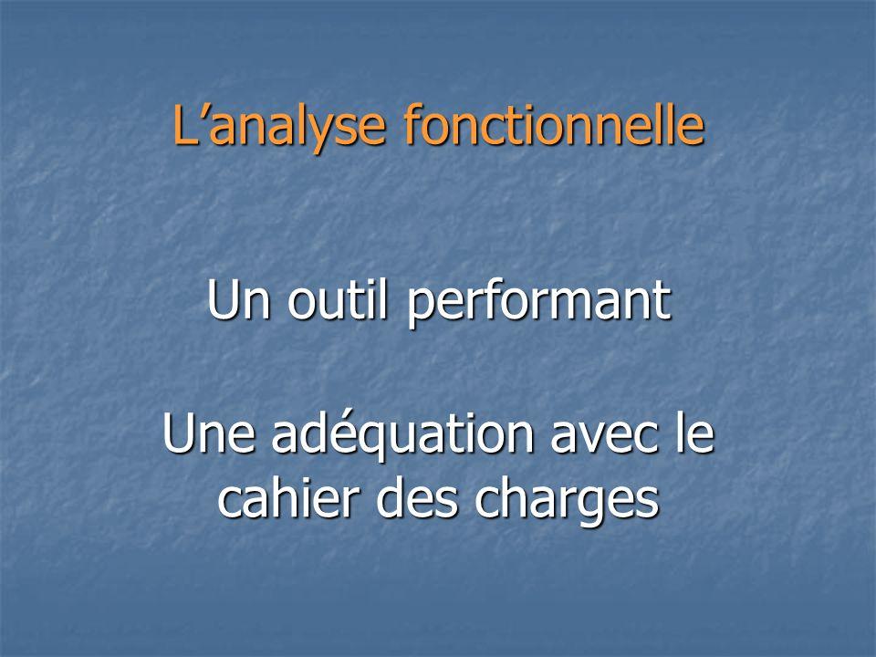 Lanalyse fonctionnelle Un outil performant Une adéquation avec le cahier des charges