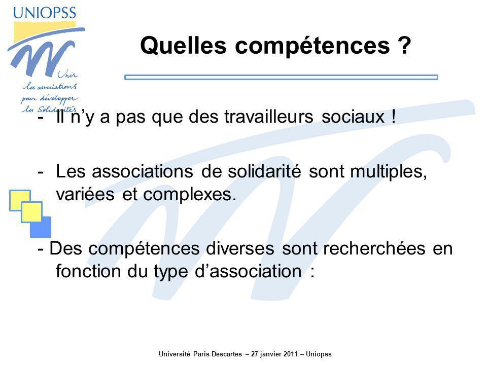 Université Paris Descartes – 27 janvier 2011 – Uniopss Quelles compétences ? -Il ny a pas que des travailleurs sociaux ! -Les associations de solidari