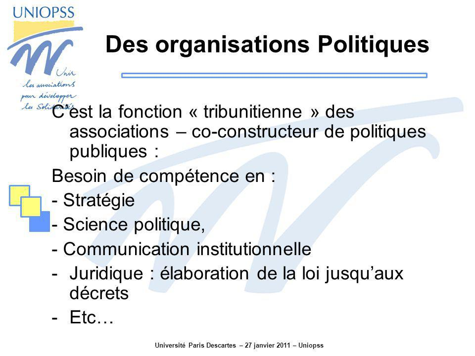 Université Paris Descartes – 27 janvier 2011 – Uniopss Des organisations Politiques Cest la fonction « tribunitienne » des associations – co-construct
