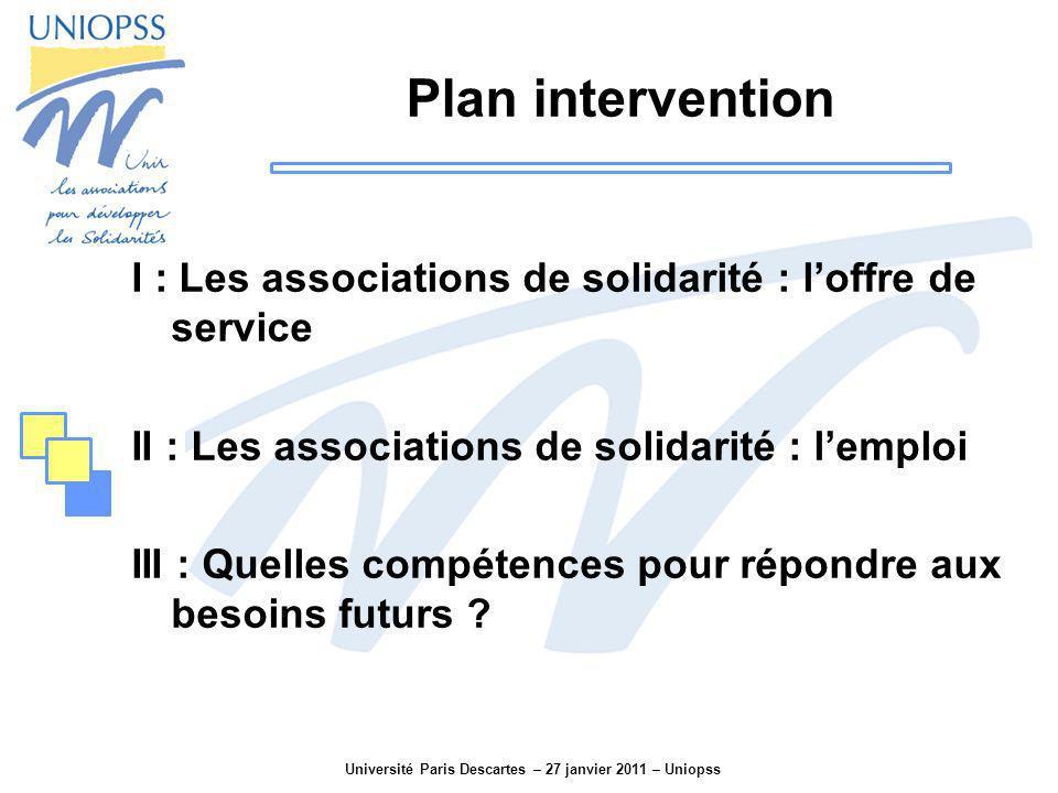 Université Paris Descartes – 27 janvier 2011 – Uniopss Plan intervention I : Les associations de solidarité : loffre de service II : Les associations