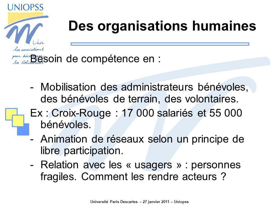 Université Paris Descartes – 27 janvier 2011 – Uniopss Des organisations humaines Besoin de compétence en : -Mobilisation des administrateurs bénévole