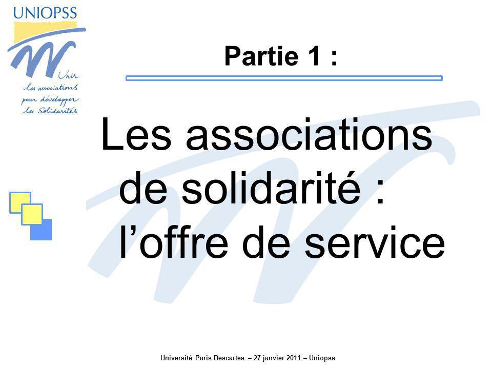 Université Paris Descartes – 27 janvier 2011 – Uniopss Eléments de comparaison : 18.5 Md Ensemble du secteur privé (hors agriculture) = 473 Md en 2009 La métallurgie = 12.4 Md Lagroalimentaire = 12 Md.