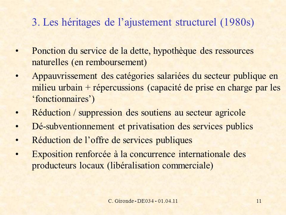C. Gironde - DE034 - 01.04.1111 Ponction du service de la dette, hypothèque des ressources naturelles (en remboursement) Appauvrissement des catégorie
