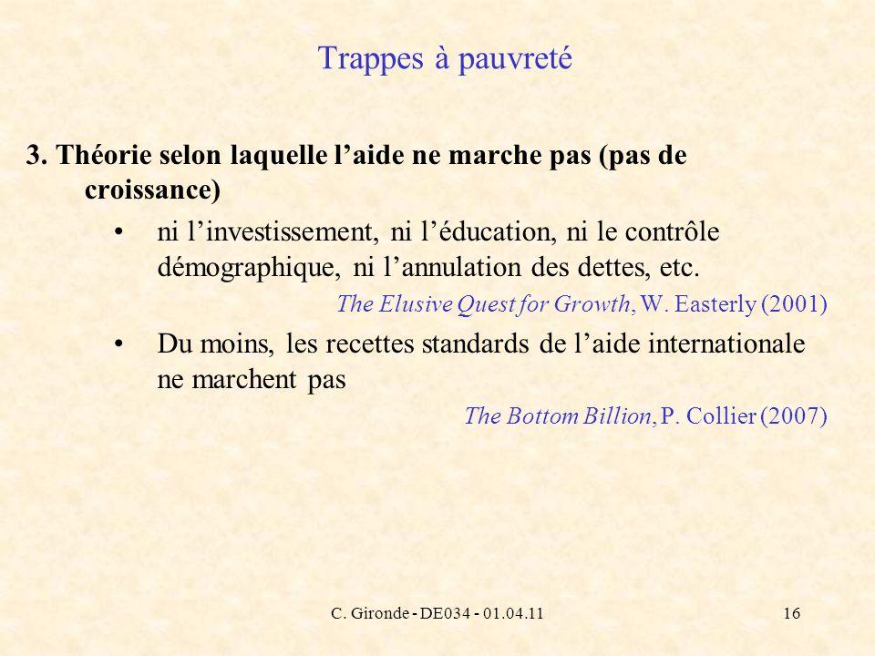 C. Gironde - DE034 - 01.04.1116 Trappes à pauvreté 3. Théorie selon laquelle laide ne marche pas (pas de croissance) ni linvestissement, ni léducation