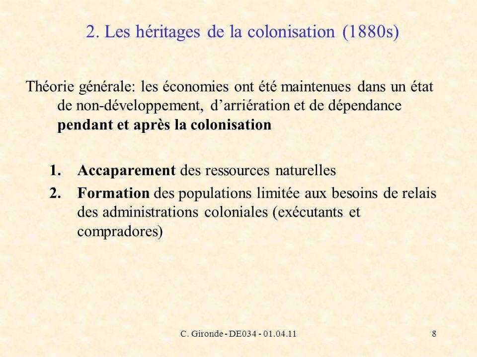 C. Gironde - DE034 - 01.04.118 2. Les héritages de la colonisation (1880s) Théorie générale: les économies ont été maintenues dans un état de non-déve