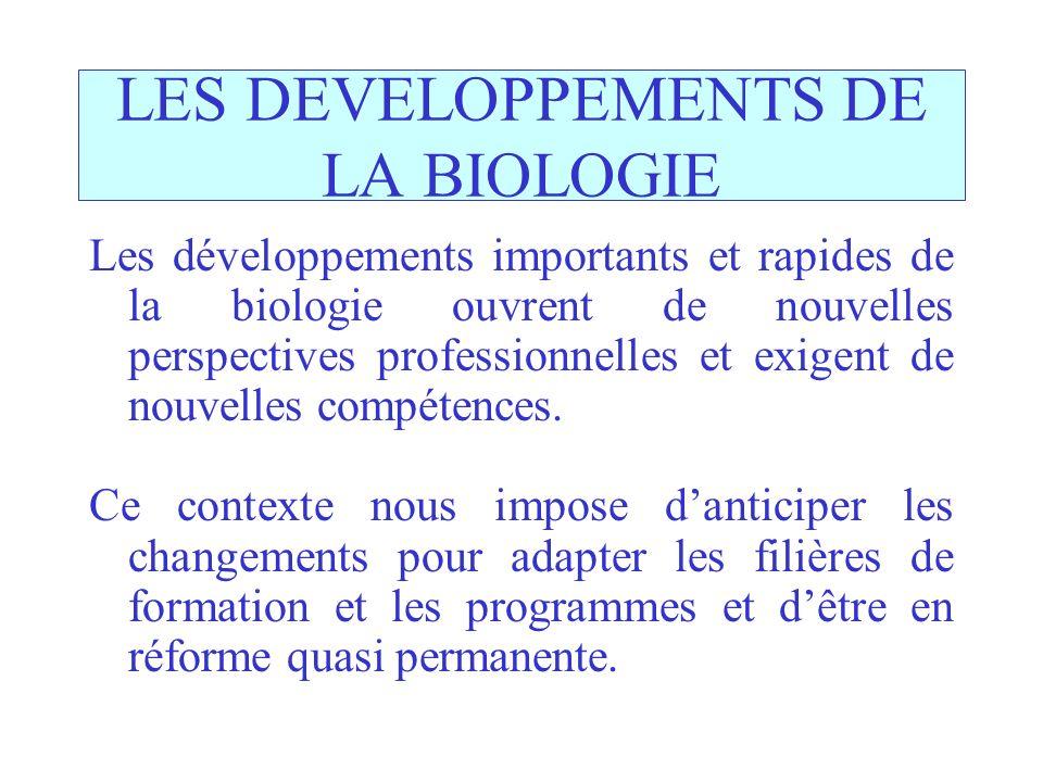 LES DEVELOPPEMENTS DE LA BIOLOGIE Les développements importants et rapides de la biologie ouvrent de nouvelles perspectives professionnelles et exigent de nouvelles compétences.