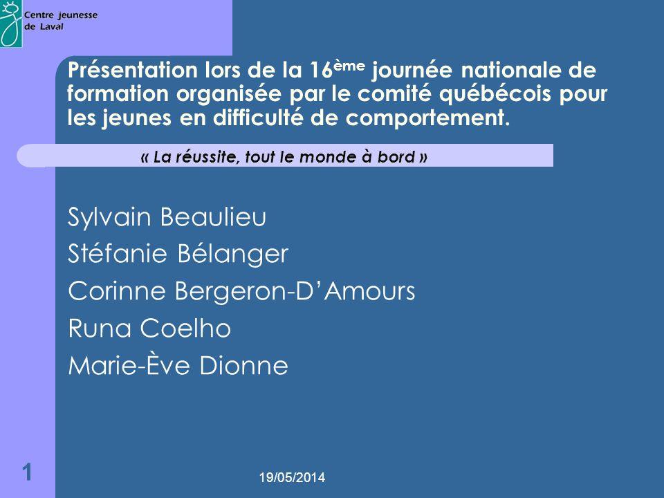 19/05/2014 1 Présentation lors de la 16 ème journée nationale de formation organisée par le comité québécois pour les jeunes en difficulté de comportement.