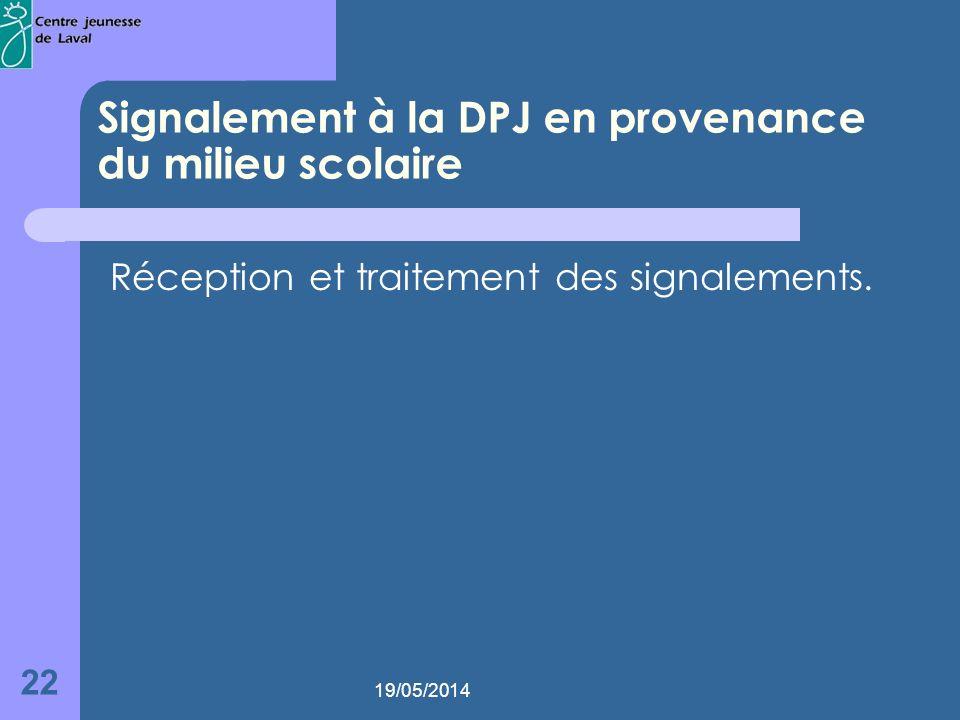 19/05/2014 22 Signalement à la DPJ en provenance du milieu scolaire Réception et traitement des signalements.